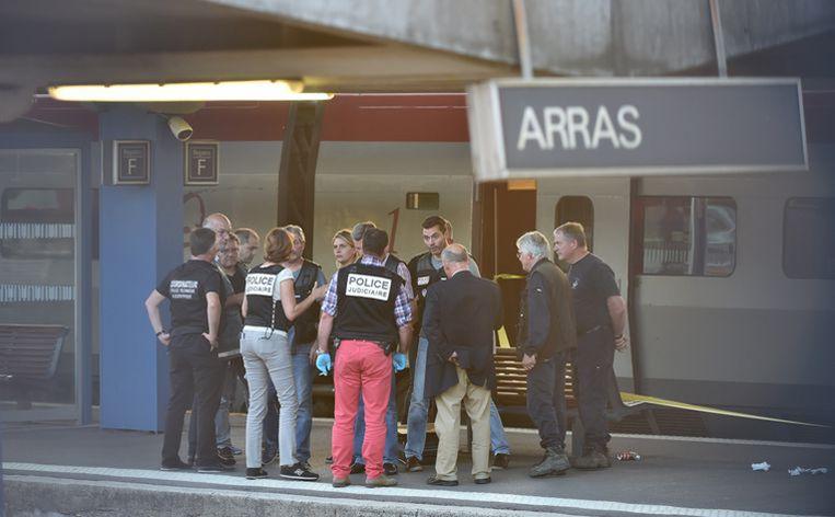 Bij de aanslag in de Thalys in augustus 2015 raakten twee reizigers gewond. Drie Amerikanen konden de aanvaller overmeesteren. Beeld AFP