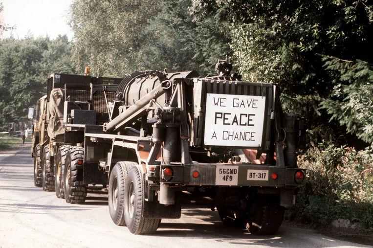 Onderdelen van de Pershing II-raket gaan in 1988 vanuit Duitsland terug naar de VS volgens het INF-verdrag van een jaar eerder. Beeld Hollandse Hoogte