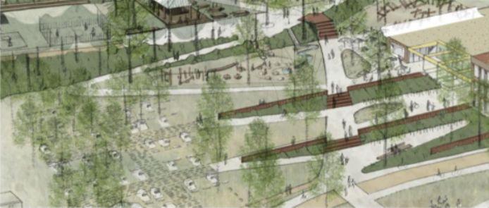 Een kleinere groene parking creëert ruimte voor groene terrassen met extra speelruimte op de helling aan de vijver.
