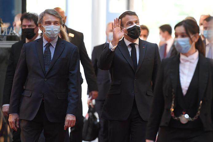 President van Frankrijk Emmanuel Macron tijdens de ceremonie in Straatsburg