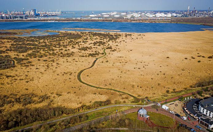 Het Groene Strand, dat straks vanaf de nieuwe natuurboulevard te bereiken is. Vooraan Koepel Zeeburg. Rechts: hotel Van Marion.