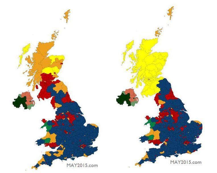 De Britse kiesdistricten na de verkiezingen van 2010 (links) en volgens de laatste peilingen (rechts). Blauw is voor de Conservatives, rood voor Labour, oranje voor de Lib Dems, geel voor de SNP. Beeld may2015.com