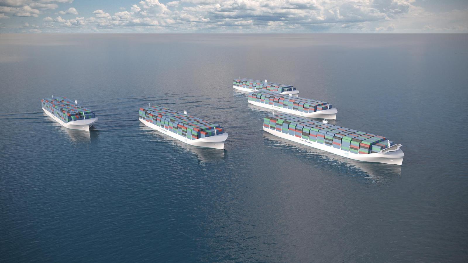 Met robotschepen kunnen straks meer containers tegen veel lagere energie- en arbeidskosten worden vervoerd. Deze impressie komt van Rolls Royce