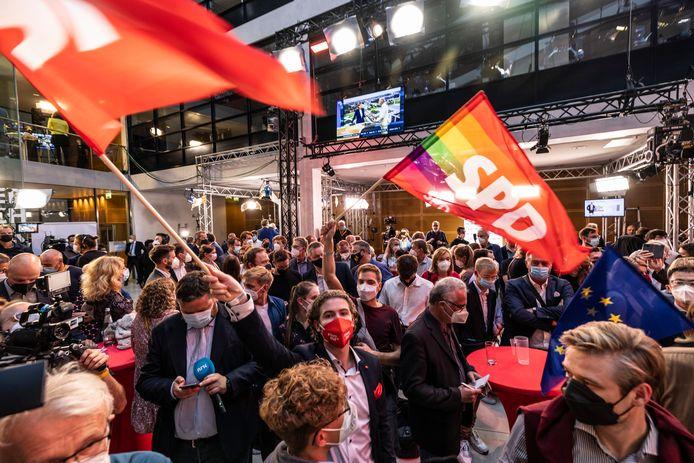 Feest op het hoofdkwartier van de SPD.