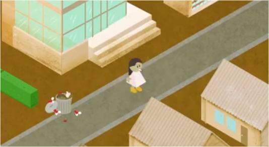 Still uit de video. De rokende vrouw bezwijkt even later.