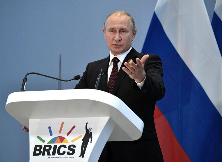 De Russische president Vladimir Poetin op de conferentie van de BRICS-landen in Johannesburg. Beeld REUTERS