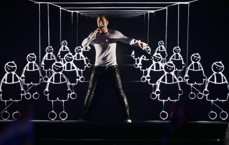 De Zweedse Måns Zelmerlöw tijdens de winnende act in 2015.  Beeld EPA