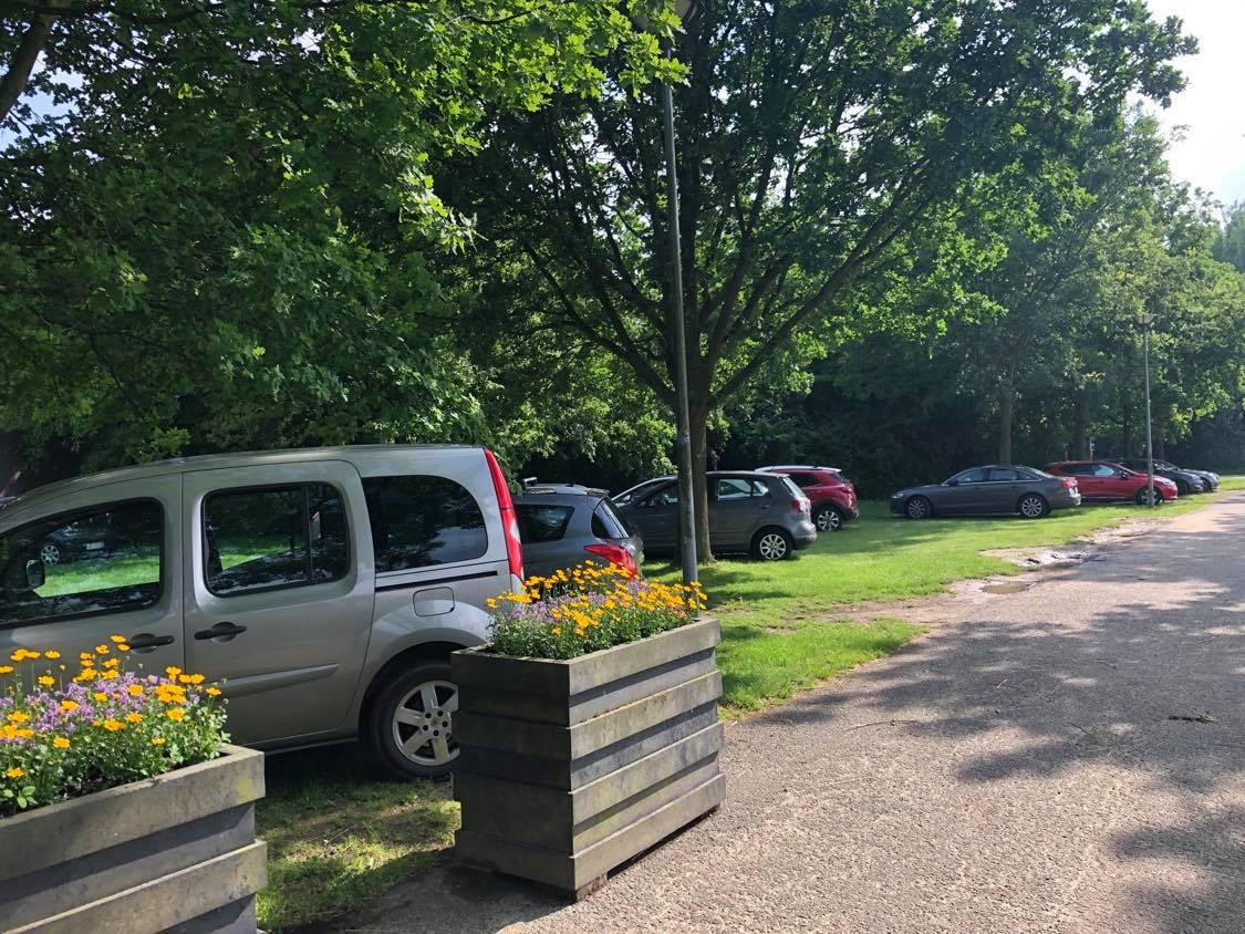 Een beeld van zondagavond, toen er twaalf auto's geparkeerd stonden in het gras.