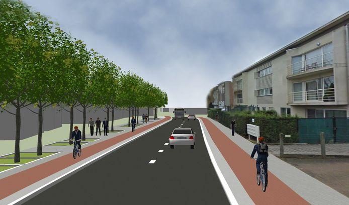 Een toekomstbeeld van de Matenstraat in Niel, met een fietspad aan beide kanten van de straat.