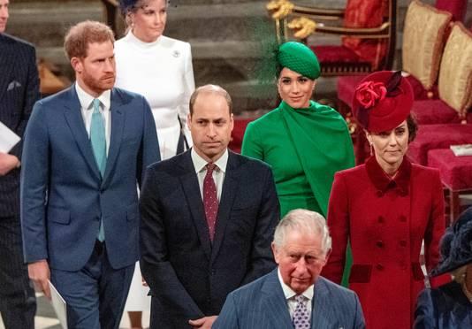 William & Kate en Harry & Meghan tijdens de jaarlijkse Commonwealth Service in 2020.