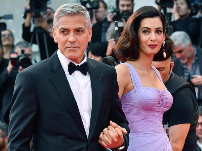George en Amal Clooney eerder deze week bij een première in Venetië.