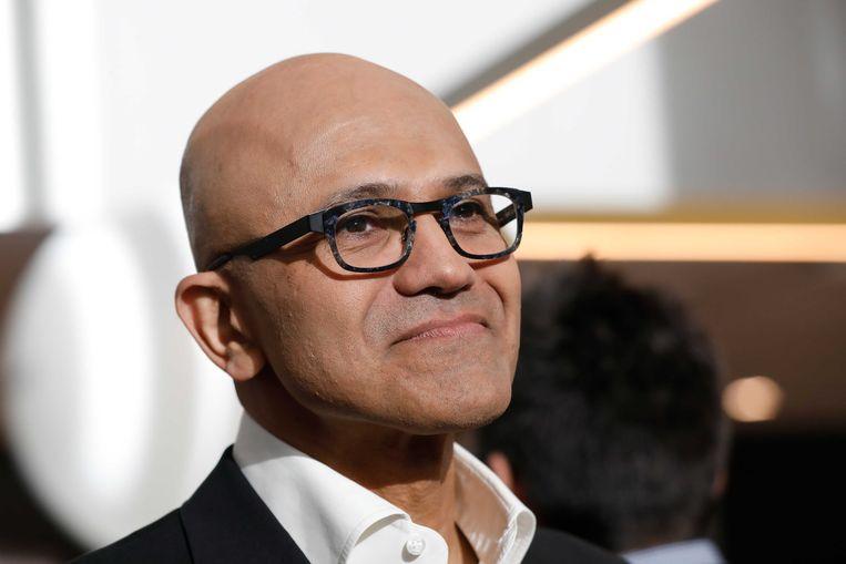 Topman Satya Nadella tijdens de opening van het nieuwe kantoor van Microsoft Nederland.