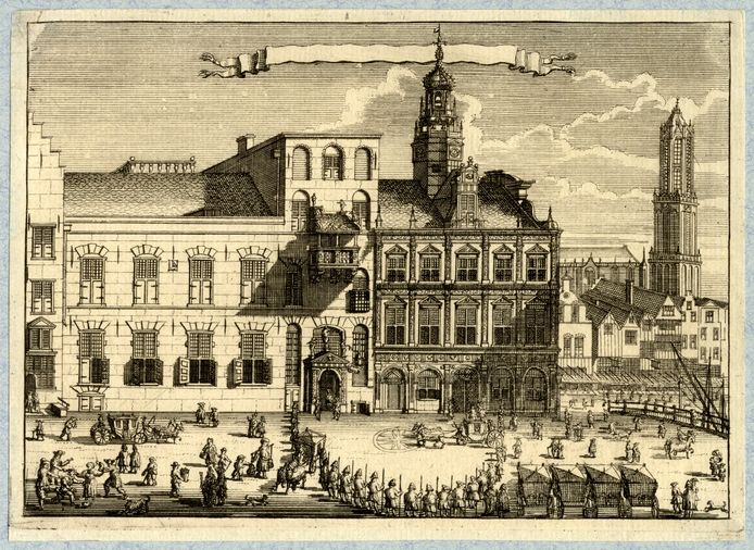 Huizen Klein en Groot Lichtenberg en Hasenberg (met torentje). Anonieme prent uit 1713.