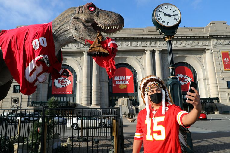 Een fan van de Kansas City Chiefs.  Beeld Getty Images