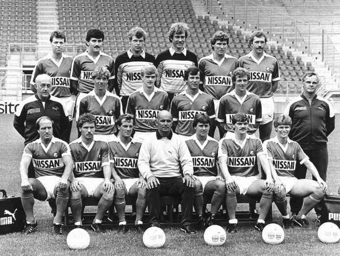 Leo van Veen en Jan Wouters als onderdeel van de FC Utrech-selectie in 1983.