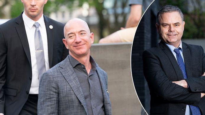Reden om te lachen: met een vermogen van 191 miljard dollar is Jeff Bezos (links), de CEO van Amazon, de rijkste persoon ter wereld. Rechts: beursexpert Pascal Paepen.