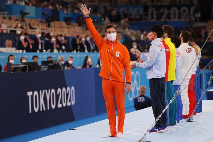 Bart Deurloo voor de rekstokfinale in Tokio.