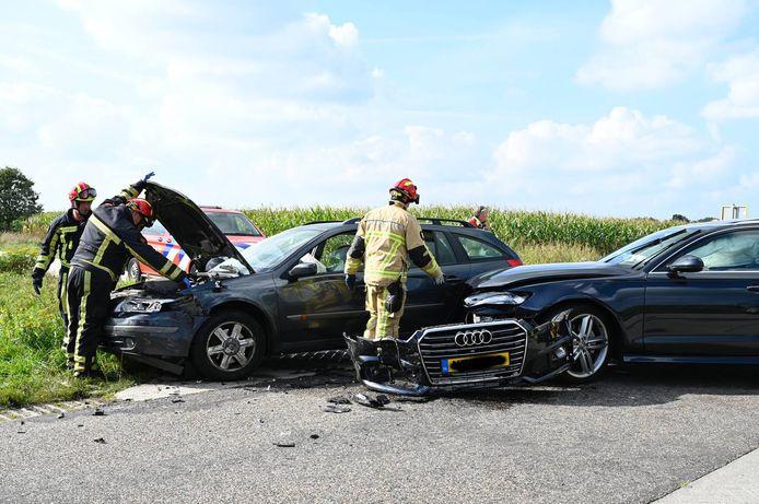 De Audi raakte flink beschadigd.