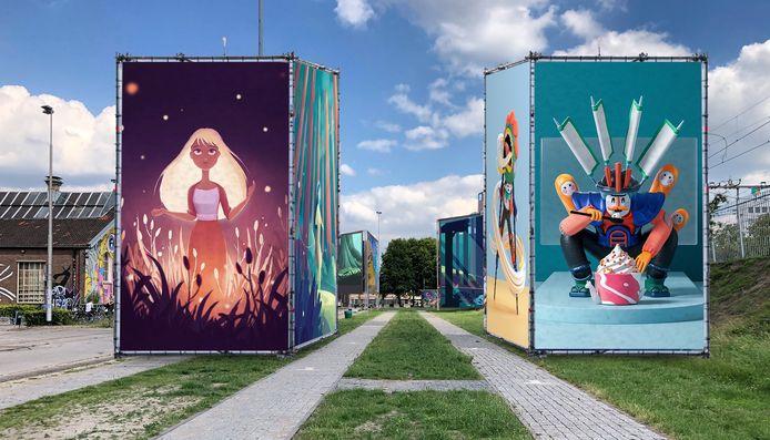 Het digitale werk van kunstenaars verschijnt op metershoge doeken in (onder meer) de Spoorzone.