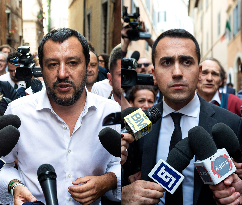 Matteo Salvini (links), leider van Lega Nord en Luigi Di Maio, leider van de Vijfsterrenbeweging.