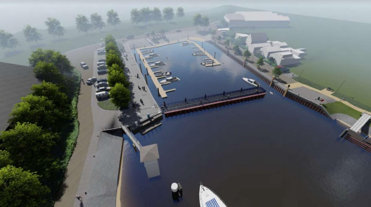 Een impressie van de nieuwe dorpshaven van Moerdijk. De gemeenteraad maakte eerder dit jaar miljoenen euro's vrij voor een metamorfose.