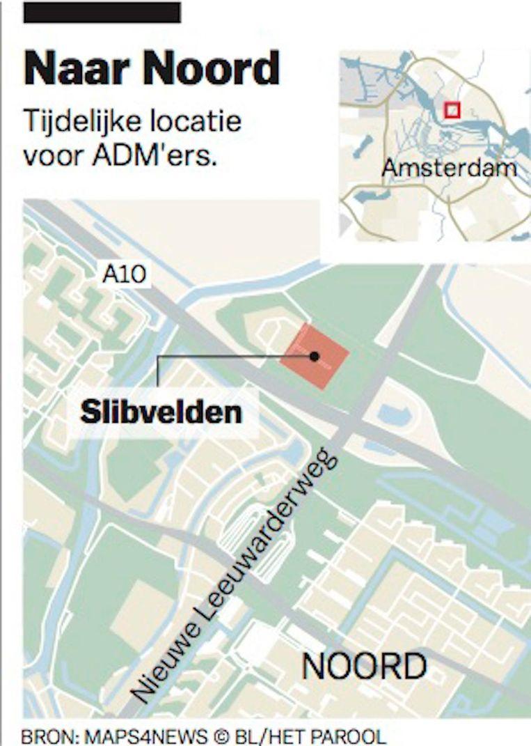 Tijdelijke locatie voor ADMers Beeld Maps4News BL