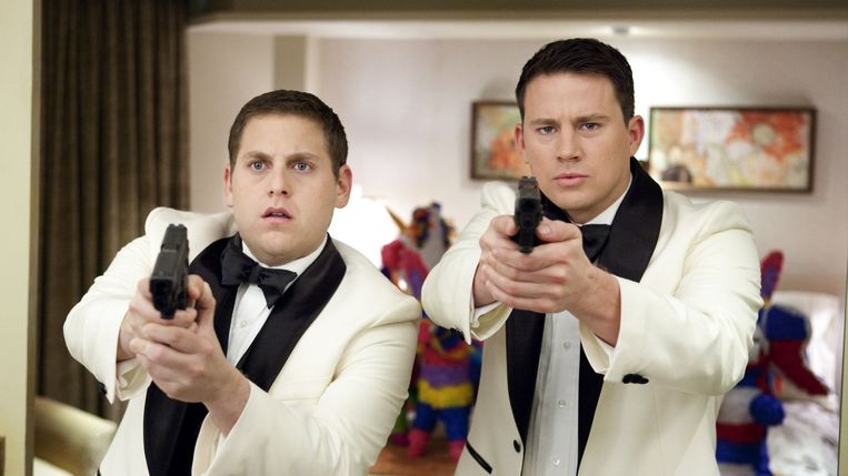 Jonah Hill (links) en Channing Tatum in 21 Jump Street. Beeld