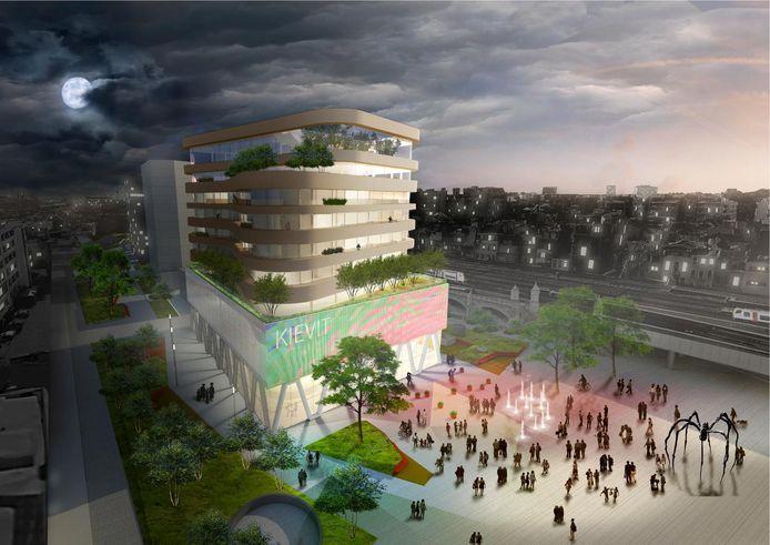 Een simulatiebeeld van hoe het nieuwe gebouw van De Persgroep Publishing op het Kievitplein in Antwerpen eruit zal zien.