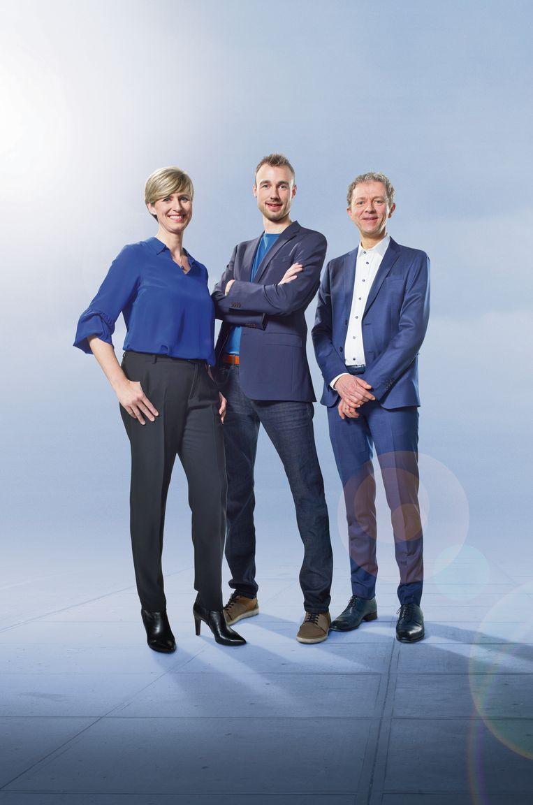 Sabine Hagedoren, Bram Verbruggen en Frank Deboosere. Beeld VRT