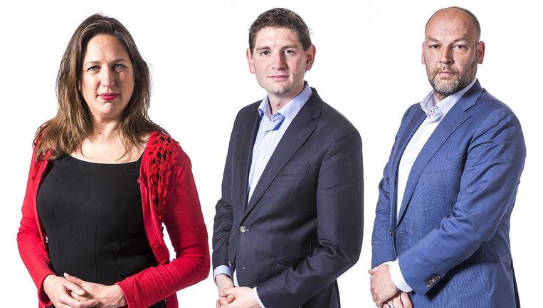 Marjolein Moorman (PvdA), Jan Paternotte (D66) en Rutger Groot Wassink (GroenLinks) Beeld Het Parool/Rink Hof