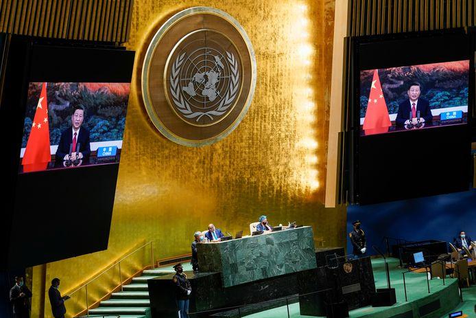 De Chinese President Xi Jinping spreekt tijdens een vooraf opgenomen videotoespraak op de Algemene Vergadering van de VN in New York.