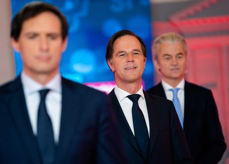 Wopke Hoekstra (CDA), Mark Rutte (VVD) en Geert Wilders (PVV)  voorafgaand aan het RTL Verkiezingsdebat.  Beeld ANP