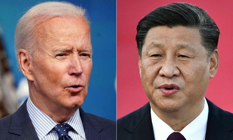 De Amerikaanse president Joe Biden (links) en zijn Chinese tegenhanger Xi Jinping. Beeld AFP