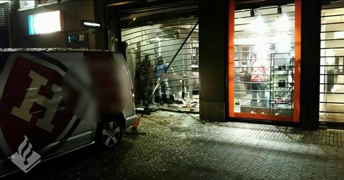 Schade na de ramkraak in Veenendaal.