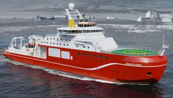 Het nieuwe, nog naamloze, onderzoeksschip.