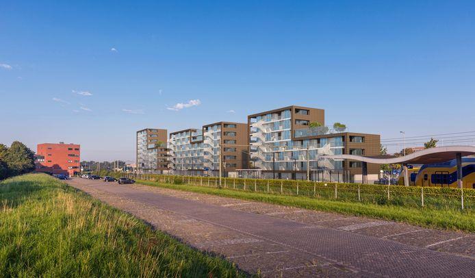 Artist's impression van de nieuwe studentenhuisvesting bij het station in Middelburg, gezien vanaf de zuidzijde.