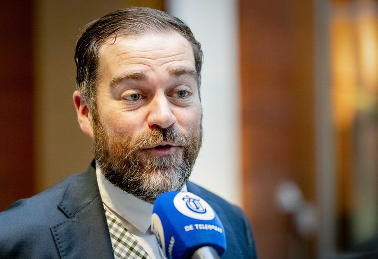 Klaas Dijkhoff dinsdagochtend  bij het ministerie van Volksgezondheid, Welzijn en Sport waar hij de onderhandelingen voerde over de oplossingen voor de stikstofimpasse.  Beeld ANP