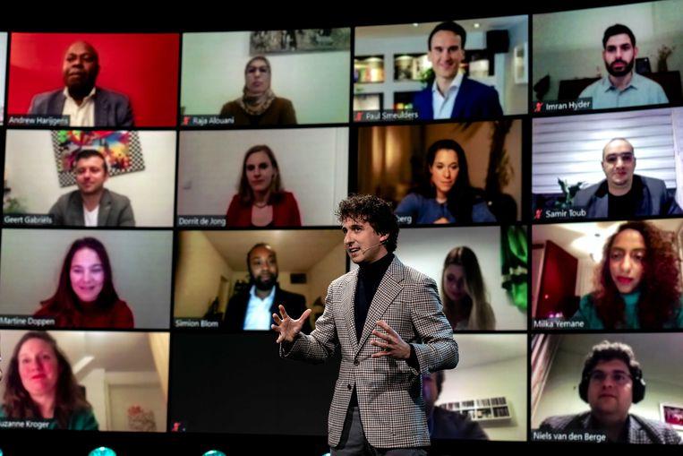 Lijstrekker Jesse Klaver van GroenLinks tijdens een online presentatie. Beeld ANP