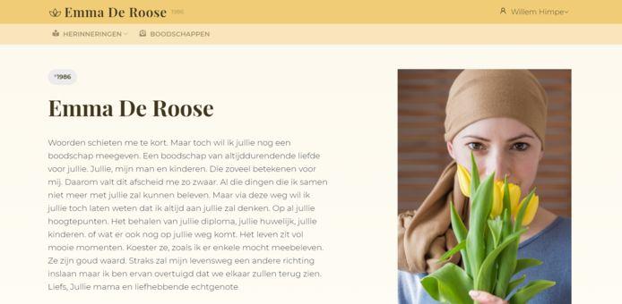 Een boodschap die Emma achterliet voor haar dochter Maité. Nu vereeuwigd op Aeterna.