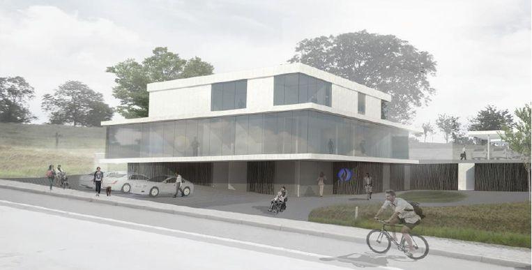Een 3D-beeld van het nieuwe politiehuis langs de Edingsesteenweg