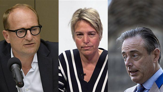 Van links: Vlaams minister Ben Weyts, voormalig minister van Leefmilieu Joke Schauvliege en Antwerps burgemeester Bart De Wever.