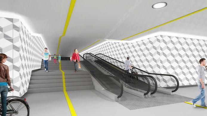Impressie van de ondergrondse fietsenstalling Koningin Julianaplein