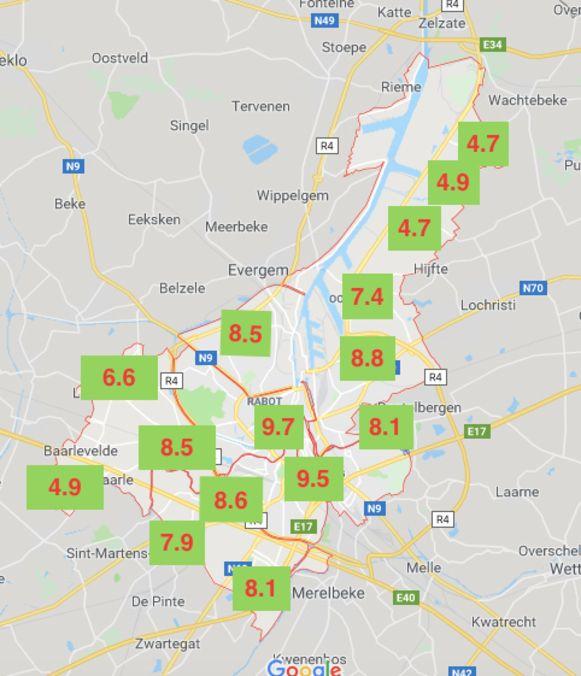 De MobiScore varieert sterk van locatie tot locatie: binnen Gent al van 4,7 in de Kanaalzone tot 9,7 in het absolute stadscentrum.