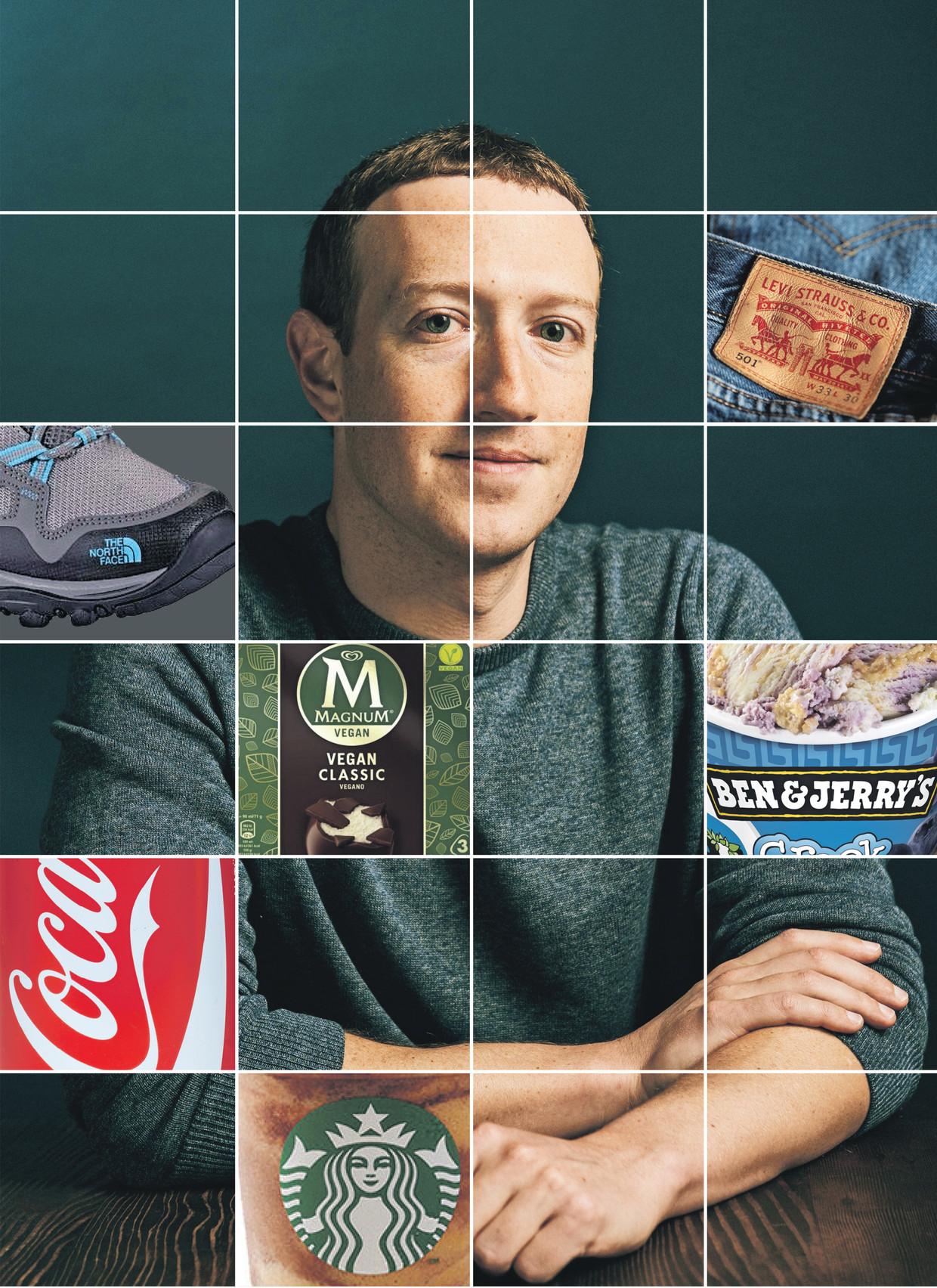 Facebook-oprichter Mark Zuckerberg. Beeld ANP, bewerking de Volkskrant
