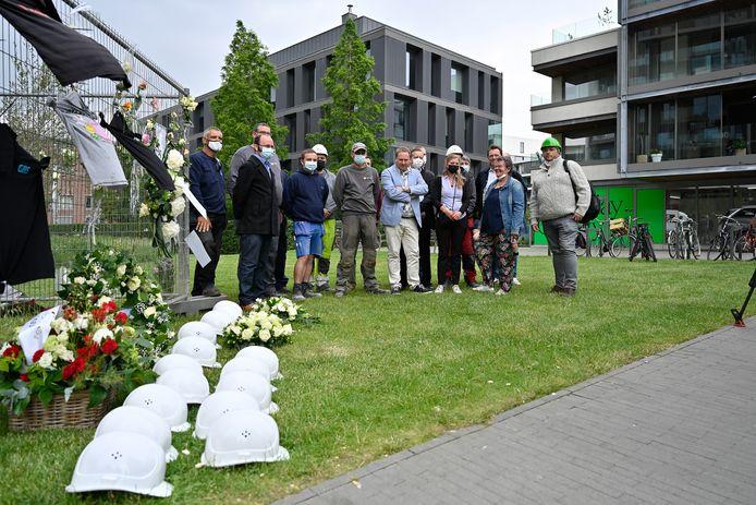 De herdenking donderdagmiddag door de vakbonden.