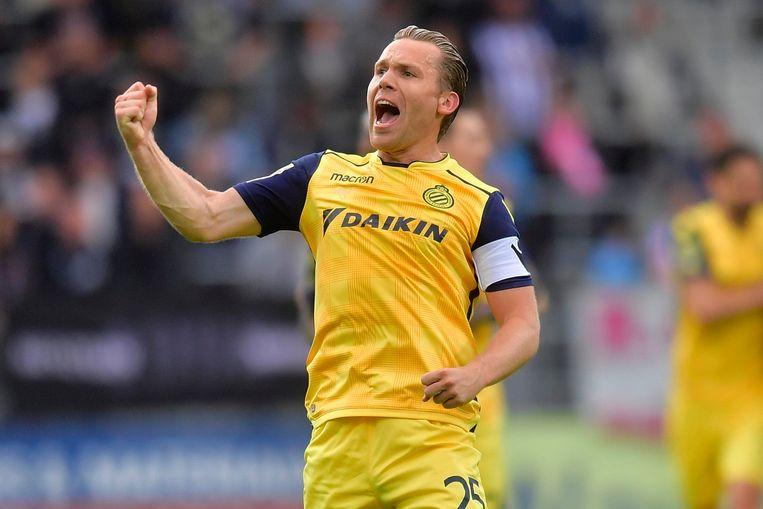 Ruud Vormer (Club Brugge) viert zijn goal. Beeld Photo News
