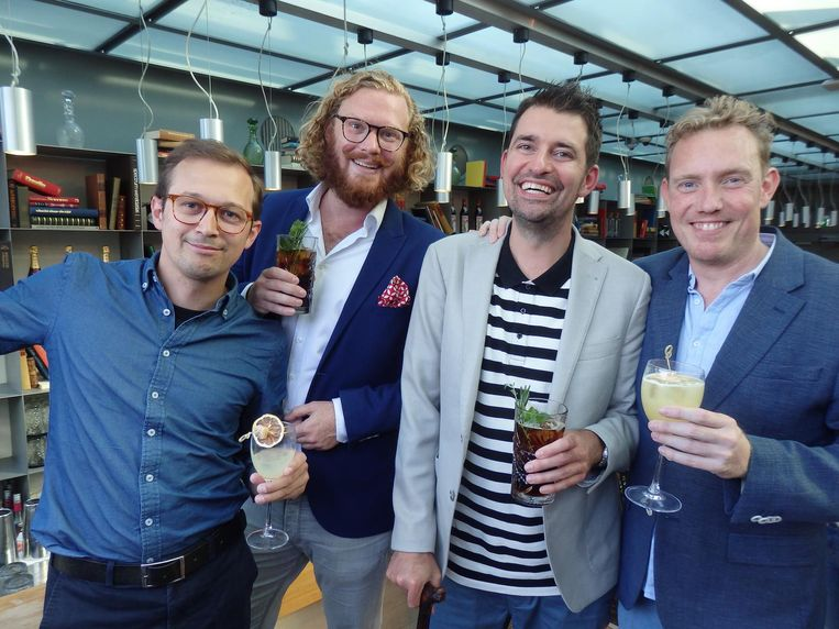 The usual suspects: Roger Bloem en Jean-Paul Schaddé van Dooren van City Guys, Ingmar Voerman (Ingmar Drinkt) en Vincent van Dijk (HBMEO). Beeld Schuim