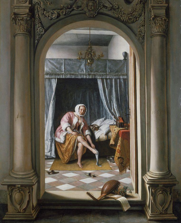 Vrouw in een slaapkamer (1663) van Jan Steen. Beeld Royal Collection Trust