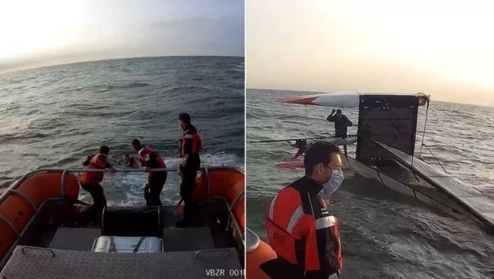 À gauche, l'équipe de sauvetage vient en aide au rescapé. A droite: le catamaran ayant chaviré