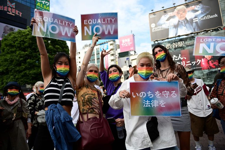 Protest in Shibuya. Beeld AFP